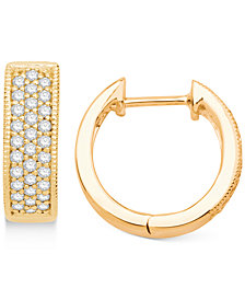 Diamond Hoop Hinged Earrings (1/4 ct. t.w.) in 14k Gold
