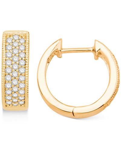 Diamond Hoop Hinged Earrings (1/4 ct. t.w.) in 14k Gold