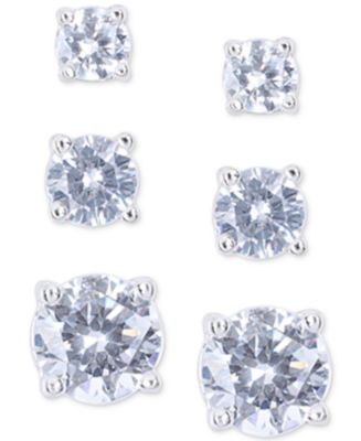 Image of Nine West Silver-Tone Crystal Small to Large Trio Earring Set