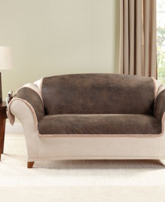 Vintage Faux Leather with Sherpa Pet Loveseat Cover