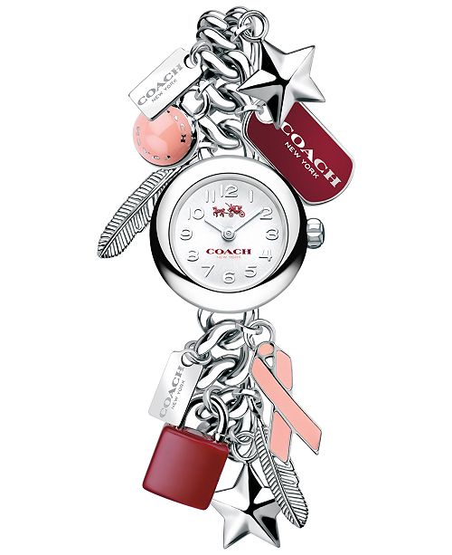 COACH WOMEN'S BREAST CANCER AWARENESS STAINLESS STEEL CHARM BRACELET WATCH 23mm 14502410