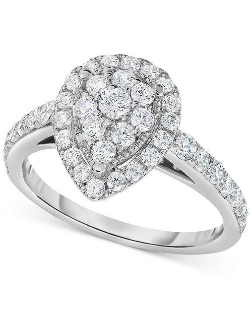 Macy's Diamond Pear Antique-Inspired Engagement Ring (1 ct. t.w.) in 14k White Gold