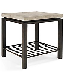 Tempo Travertine Top Rectangular Coffee Table Furniture