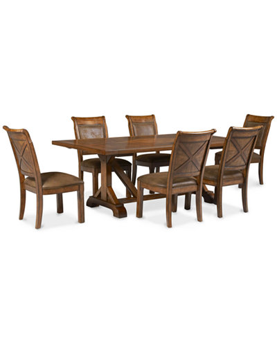 Mandara 7 Pc Dining Room Set Trestle Table 6 Side Chairs