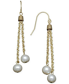 Cultured Freshwater Pearl Rope Chain Earrings in 14k Gold (6mm)