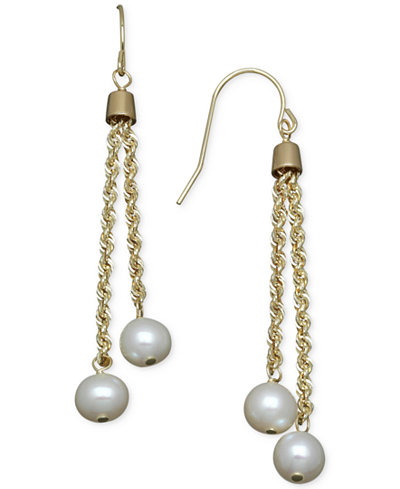 Honora Style Cultured Freshwater Pearl Rope Chain Earrings In 14k Gold 6mm
