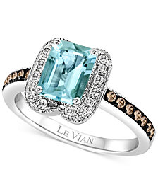 Le Vian® Aquamarine (1-1/10 ct. t.w.) and Diamond (2/5 ct. t.w.) Ring in 14k White Gold
