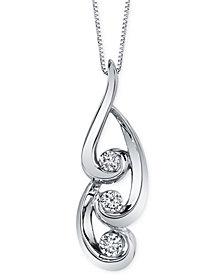 Sirena Energy Diamond Swirl Pendant Necklace (3/8 ct. t.w.) in 14k White Gold