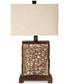 StyleCraft Canvas Enclosed Night Light Wood Table Lamp