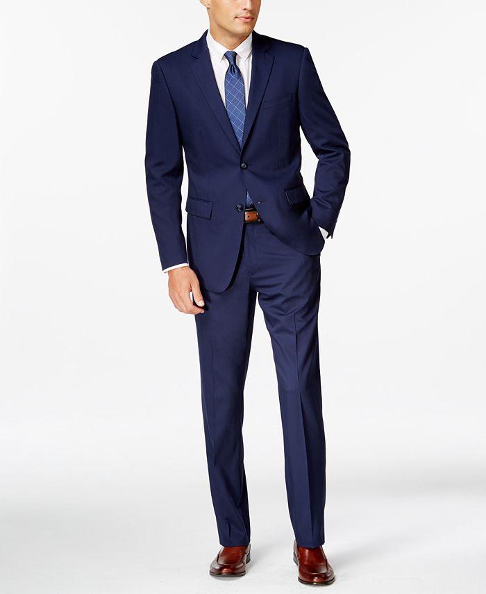 Perry Ellis - Blue Twill Slim-Fit Suit