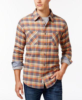 Weatherproof vintage long sleeve plaid brushed flannel for Weatherproof vintage men s lightweight flannel shirt