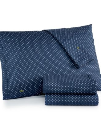 Lacoste Printed Cotton Percale Twin Sheet Set