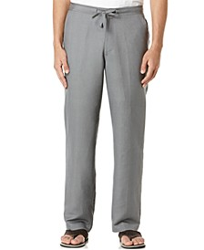 "Solid Linen-Blend Drawstring Pants 30"" Inseam"