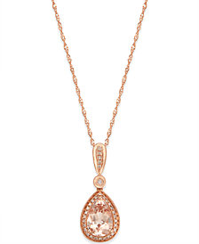 Morganite (1-1/10 ct. t.w.) and Diamond (1/10 ct. t.w.) Pendant Necklace in 14k Rose Gold