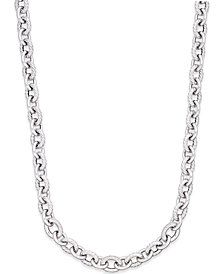 Diamond Oval Link Necklace (5/8 ct. t.w.) in Sterling Silver