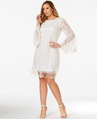 Ing plus size lace fringe trim dress dresses plus for Macy s wedding dresses plus size