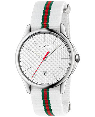 Gucci Men's Swiss G-Timeless White & Green-Red-Green YA126322