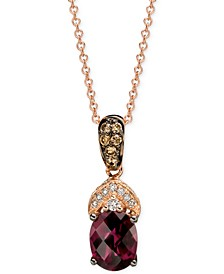 Raspberry Rhodolite® Garnet and Diamond (1-5/8 ct. t.w.) Pendant Necklace in 14k Rose Gold