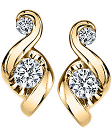 Proud Mom Diamond Swirl Stud Earrings (1/4 ct. t.w.) in 14k Gold or White Gold