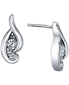 Proud Mom Diamond Swirl Earrings (1/4 ct. t.w.) in 14k White Gold