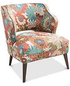 Simon Armless Floral Mod Chair, Quick Ship