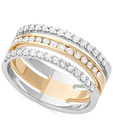 Diamond Three Row Channel-Set Band (1/2 ct. t.w.) in 14k White and Yellow Gold