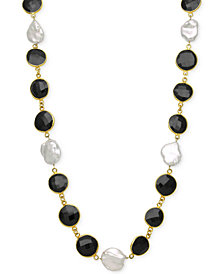 Onyx (11-1/2mm) and Cultured Freshwater Pearl (11-1/2mm) Necklace in 18k Gold over Sterling Silver