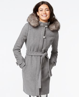 Calvin Klein Faux-Fur-Trim Belted Walker Coat