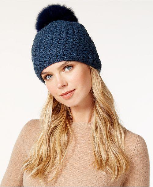 3f6f1691a33 Surell Star Stitched Knit Fox Fur Pom Hat   Reviews - Handbags ...