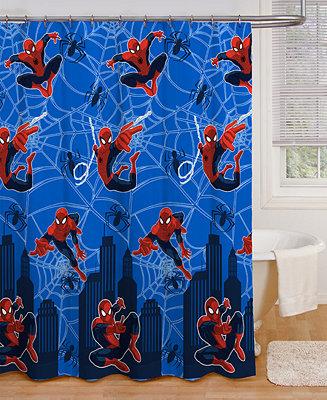 Spiderman shower curtain bathroom accessories bed for Spiderman bathroom ideas