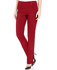 JM Collection Petite Tummy Control Pull-On Pants, Created for Macy's