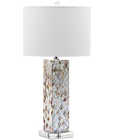 Decorator's Lighting Argyle Squared Mother Of Pearl Crystal Table Lamp