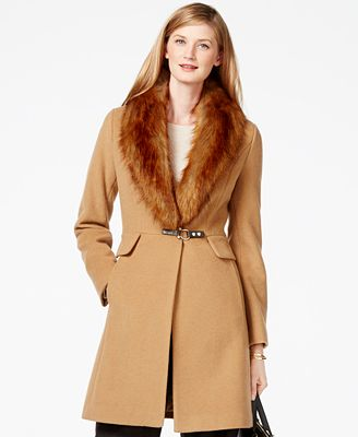 Ivanka Trump Faux-Fur-Trim Shawl-Collar Coat - Coats - Women - Macy's