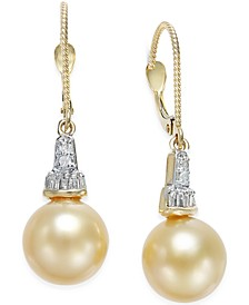 Cultured Golden South Sea Pearl (10mm) and Diamond (1/4 ct. t.w.) Drop Earrings in 14k Gold