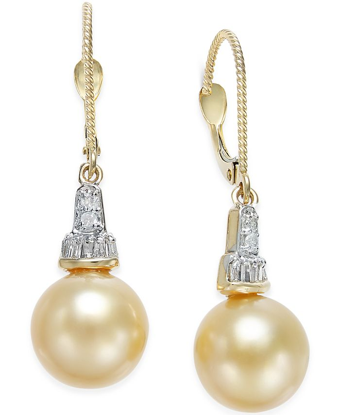 Macy's - Cultured Golden South Sea Pearl (10mm) and Diamond (1/4 ct. t.w.) Drop Earrings in 14k Gold