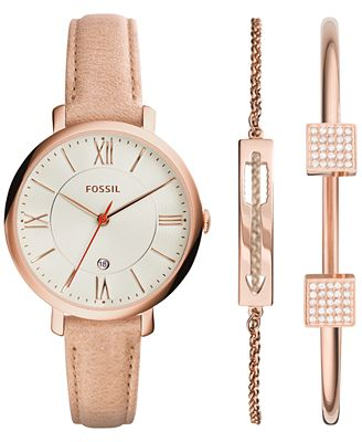 fossil women 39 s jacqueline light brown leather strap watch. Black Bedroom Furniture Sets. Home Design Ideas