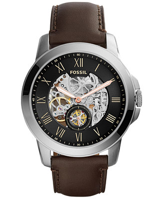 Fossil Men's Automatic Grant Dark Brown Leather