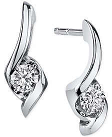 Diamond Twist Drop Earrings (1/8 ct. t.w.) in 14k White Gold