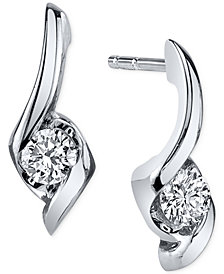 Sirena Diamond Twist Drop Earrings (1/8 ct. t.w.) in 14k White Gold