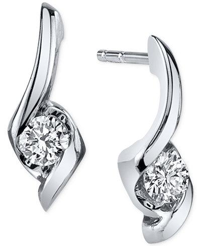 Sirena Diamond Twist Drop Earrings (1/8 ct. t.w.) in 14k White Gold