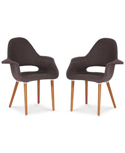 Closeout! Caleb Set of 2 Twill Mid- Century Modern Accent Chair, Quick Ship