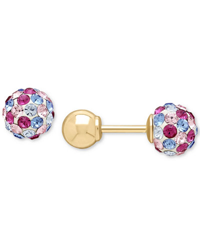 Children's Pink and Blue Crystal Ball Stud Reversible Earrings in 14k Gold