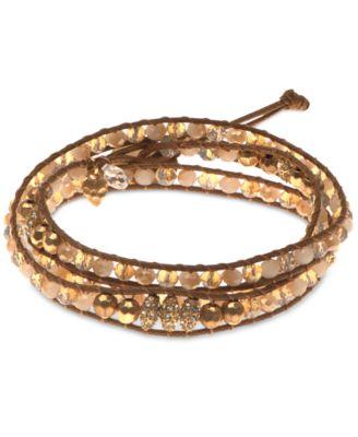 Gold-Tone Crystal Wrap Bracelet
