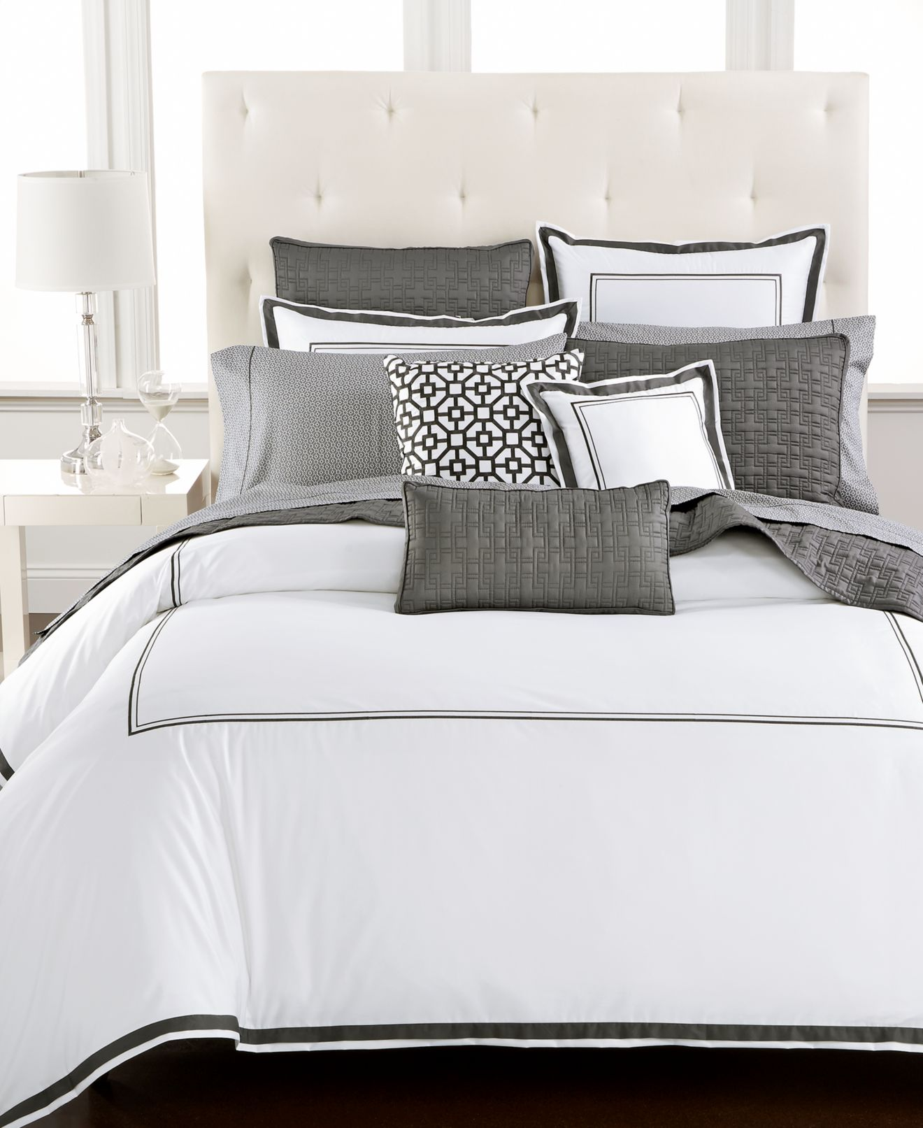 hotel collection embroidered frame bedding collection, created for