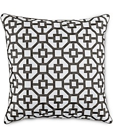 "Hotel Collection Embroidered Frame 18"" Square Decorative Pillow, Created for Macy's"
