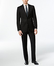 Solid Wool Black Slim X Fit Suit