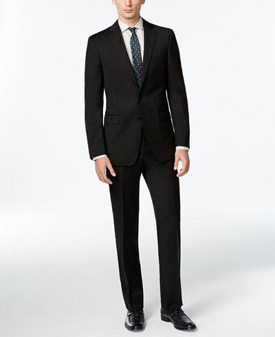 Calvin Klein Solid Wool Black Slim X Fit Suit - Suits & Suit ...