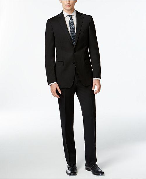 56b6f051bf7c Calvin Klein Solid Wool Black Slim X Fit Suit   Reviews - Suits ...
