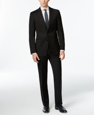 Calvin Klein Solid Wool Black Slim X Fit Suit thumbnail