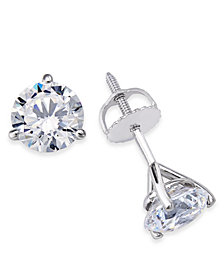 Certified Near Colorless Diamond 3-Prong Stud Earrings (1-1/2 ct. t.w.) in 18k White Gold